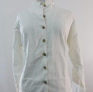 Columbia vintage linen mandarin collar shirt